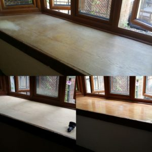 Wooden window sill sanding & refinishing