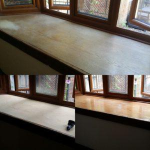 Wooden window sill sanding & refinishing