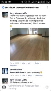 Floor sanding testimonials