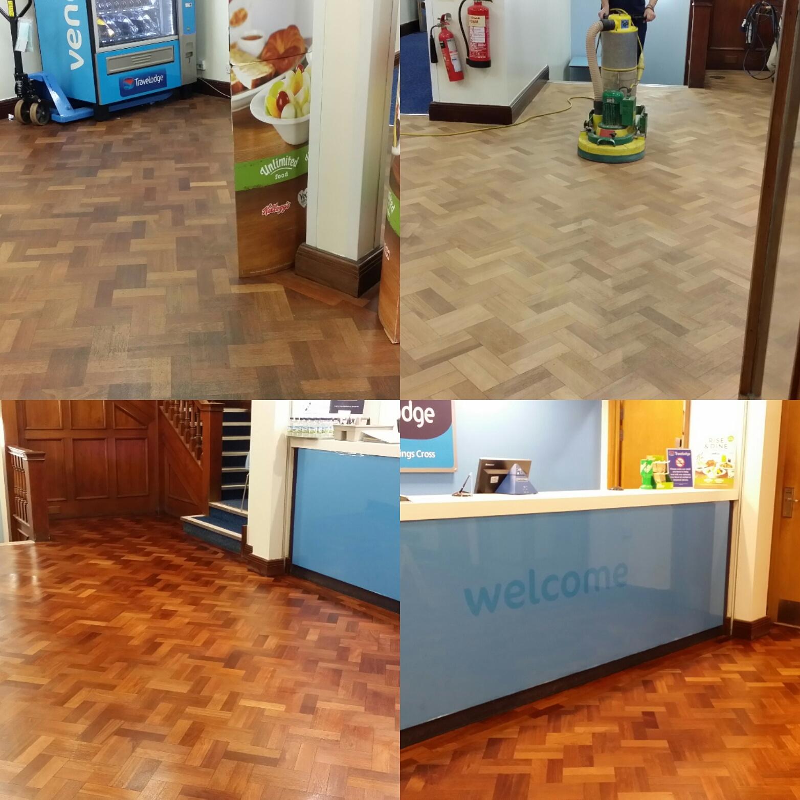 Commercial floor sanding at travellodge kings cross