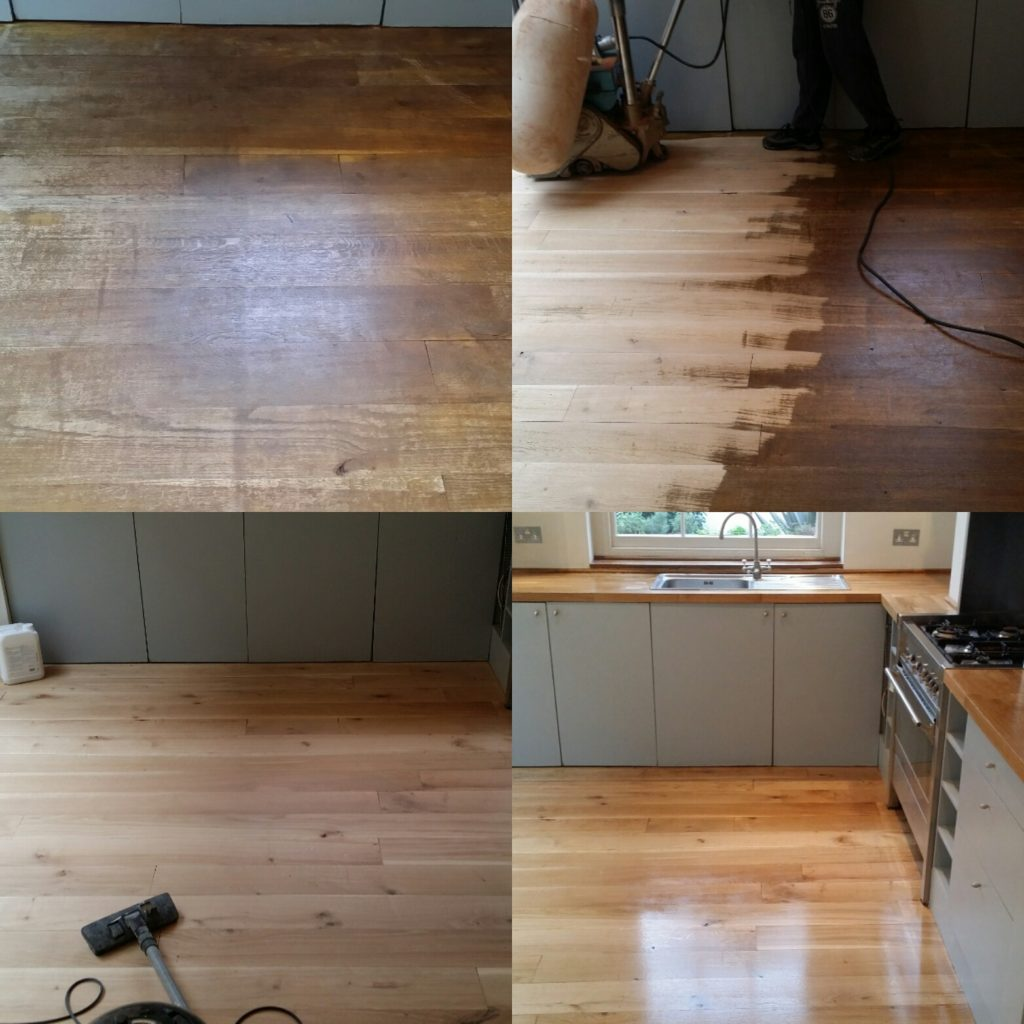 Oak hardwood floor sanding