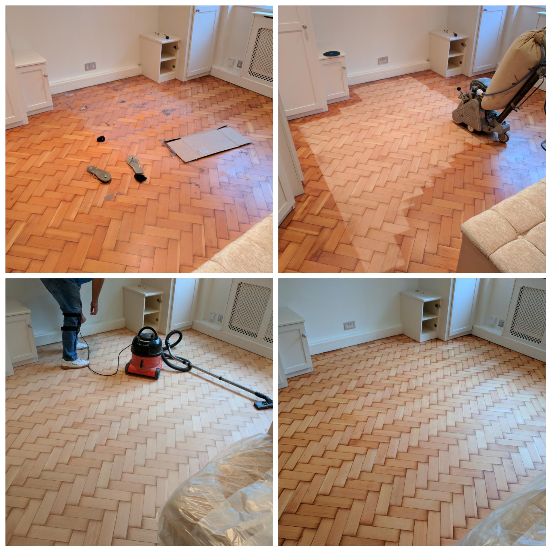 Parquet herringbone wood floor sanding and refinishing