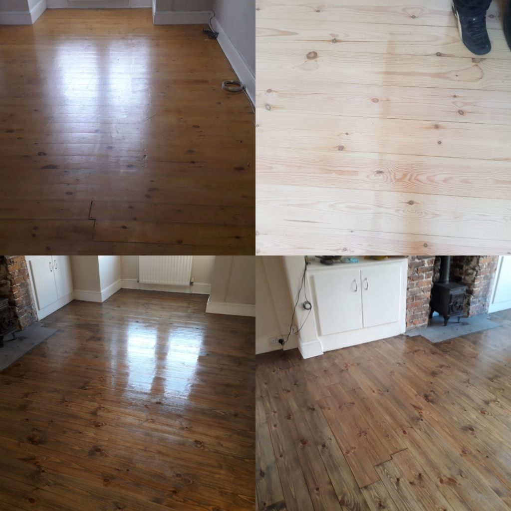 Pine floor sanding, staining and refinishing