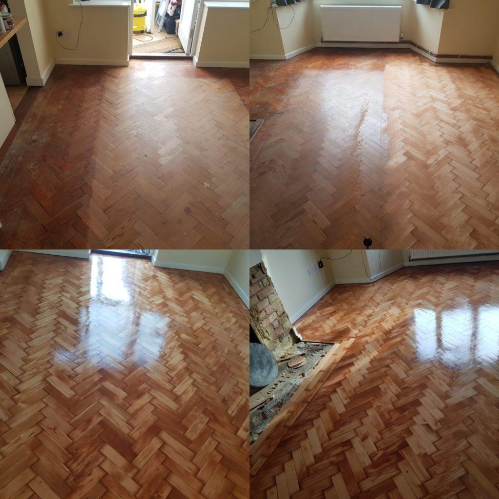 parquet herringbone floor sanding