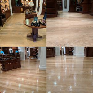 London Store Crockett & Jones, before and after shots of their Floor sanding and polishing service