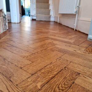 reclaimed herringbone parquet floor image 10