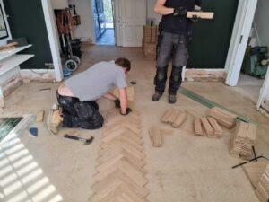 reclaimed herringbone parquet floor image 4