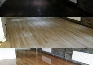 Before and after images of a floor sanding project in London